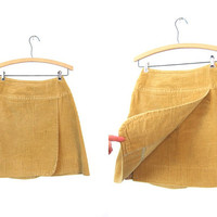 Vintage Corduroy Skirt Golden Yellow Wrap Front Skirt 70s 80s Mod Mini Skirt Hippie Bohemian High Waist Skirt Womens XS
