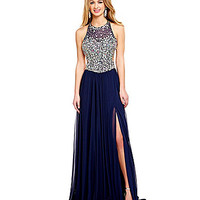 Glamour by Terani Couture Halter Beaded Illusion Bodice Gown | Dillards.com
