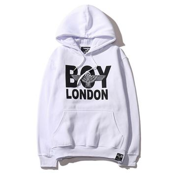 Tide brand autumn and winter new boy london men and women with cashmere hooded sweater wild lovers long-sleeved shirt wave White