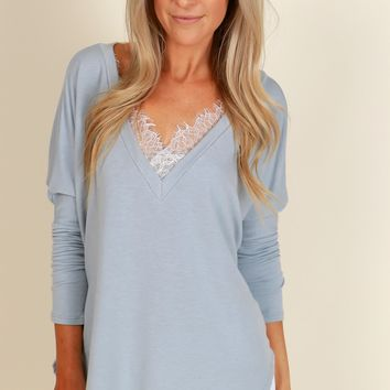 Lace Of My Life Top Warm Grey