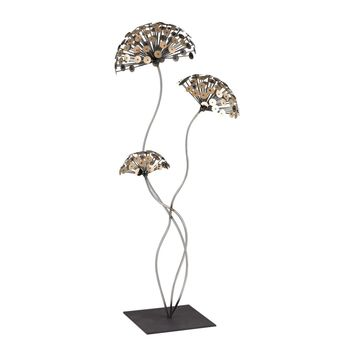 Dandelion Metal Sculpture Gold,Burnished Accents On Silver & Black