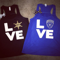 Love - Police - Sheriff  - Tank - Girlfriend -  Police Wife - Wife Apparel - Ruffles with Love