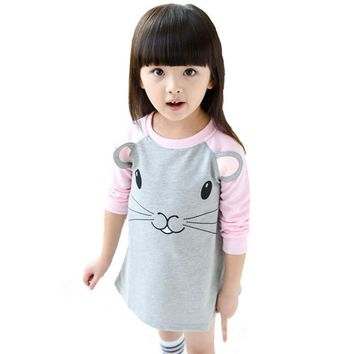 Spring Girl Clothes Dresses 2017 Cartoon Mouse Panda Pattern Girls Toddler Princess Dress Brand Kids Frock Designs Costume Dress