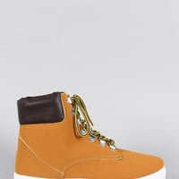 Bamboo High Top Round Toe Lace Up Sneaker