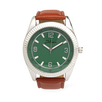 Faux Leather-Banded Watch