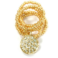 Gold Rhinestone Disc Beaded Stretch Ring Stackable Adjustable (4-7) Handmade Beaded Ring