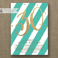 Tiffany Blue & Gold Birthday Party Invitation Stripes Gold Glitter Confetti ANY AGE Milestone 30 40 50 Printable Digital or Printed- Stella