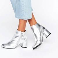 New Look Metallic Block Heeled Ankle Boots at asos.com