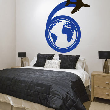 Vinyl Wall Decal Sticker Traveling Airplane #1151