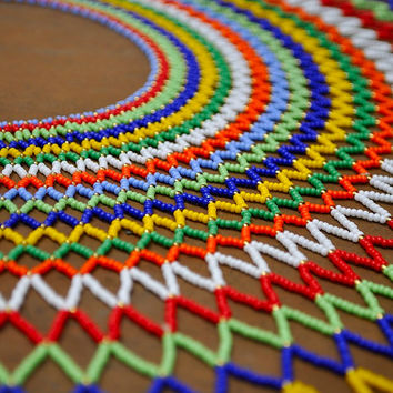 Majestic necklace from Africa (beaded, rainbow, tribal necklace)