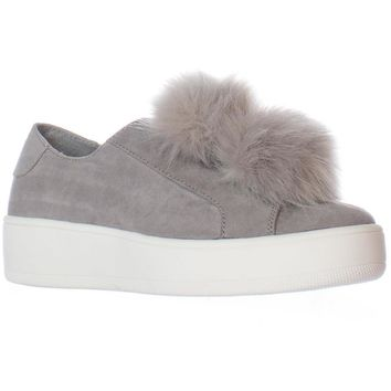Steve Madden Bryanne Fluff Ball Platform Slip On Sneakers, Grey Multi, 11 N US