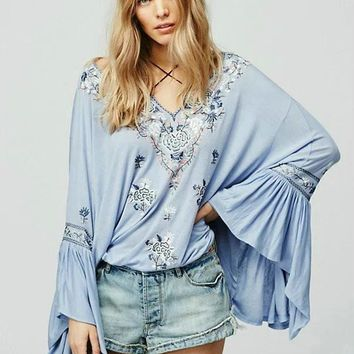 V-neck Embroidery Chiffon Tops Bohemia Batwing Sleeve Dolls Loudspeaker [7086229441]