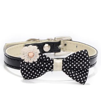 1pcs PU Leather Bow Tie Dog Collar Kitten Cat And Puppy Chihuahua Harness Leash Dog Accessories Pet Shop Dog Supplies Black