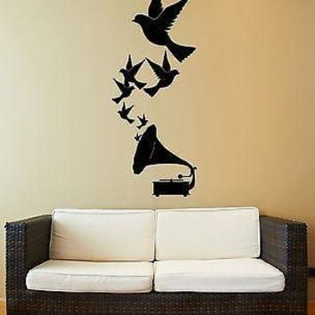 Vinyl Decal Wall Stickers Music Retro Gramophone Birds Romantic Decor Unique Gift (z1803)