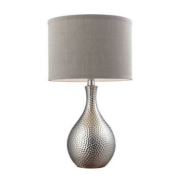 Hammered Chrome Plated Table Lamp With Grey Faux Silk Shade Chrome Plating