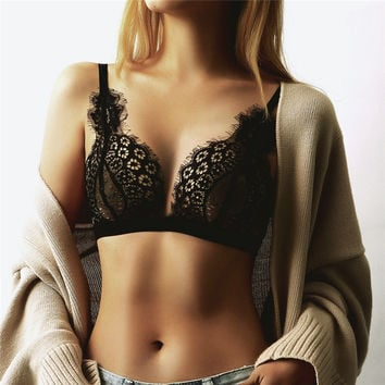 Fashion Sexy Women Floral Sheer Lace Triangle Bralette Unpadded Ladies Solid Crop Top Lingerie Camisoles Tank Mujer N24