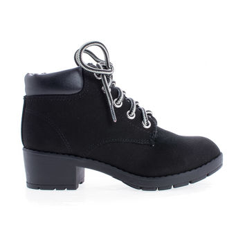 EquityIIH Children's Girl Round Toe Lace Up Lug Sole Mid Heel Boots