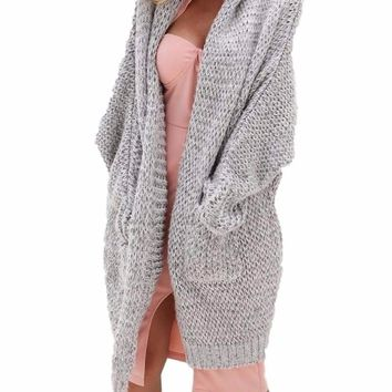 Women's Heather Gray Long Knit Sweater Duster Cardigan Jacket