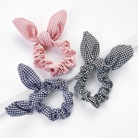 Gingham Bow Scrunchie Set