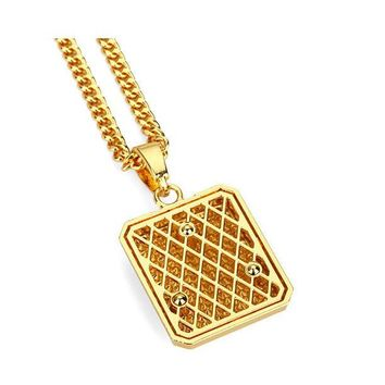 Mens Full Iced Out Rhinestone Square Tag Pendant Cuban Chain Hip Hop Necklace
