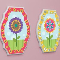 Happy Flowers Wood Wall Art (Set of 2) (1148) - Illuminada