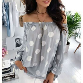 Autumn Polka Dot Shirt Blouse Women Long Sleeve Sexy Off Shoulder Top Loose All-match Women Shirts Blusas Plus Size 5XL WS9516M