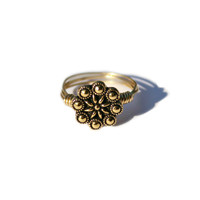 Wire Wrapped Ring-  Metal Bead Ring - Gold Filled - Gold Flower Ring