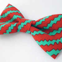 Mad hatter bow tie, mens bow tie, red bow tie mens, striped bow tie adult size