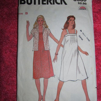 Sale 1970's Butterick Sewing Pattern, 3683! Size 12-16, Medium to Large, Summer or Spring Dress, Casual or Maternity wear, sleevless