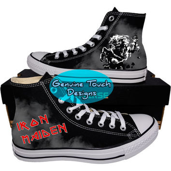 Custom Converse, Iron Maiden, Iron Maiden shoes, Life After Death, Custom chucks, painted shoes, personalized converse hi tops