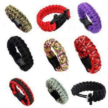 ONETOW 1PC Unisex Self-rescue Parachute Cord Paracord Bracelet Outdoor Camping Emergency Escape Rope Buckle Travel Survival Tool Kit