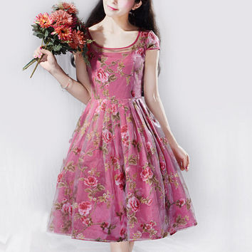 Red / Purple floral dress tulle dress cotton dress wedding dress party dress women dress Lolita dress short sleeve dress---WD177