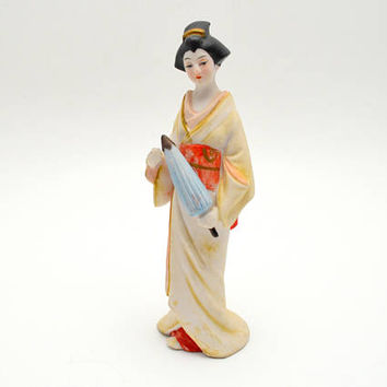 Vintage Japanese Geisha Figurine, Ceramic Japanese Girl with Parasol, Made in Japan, circa 1960s-1970s