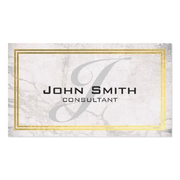 White Marble and Gold Border Monogram Consultant Business Card