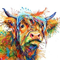 Long Haired Highland Cow Canvas Painting