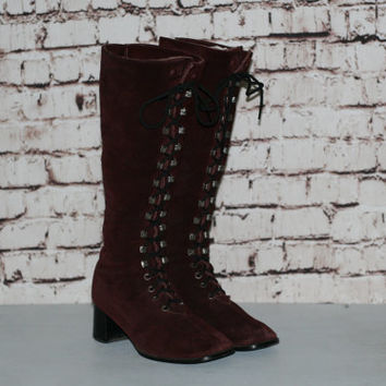 70s Lace Up Boots US 8 40 Leather Knee High Granny Tall Suede Oxblood Wine Maroon Burgundy Boho Steampunk Hipster Distressed GO GO 60s