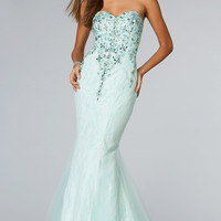 JVN by Jovani Floor Length Strapless Mermaid Dress