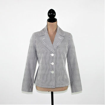 Cotton Jacket Women Petite Pinstripe Blazer Nautical Summer Coat Gray White Stripe Jacket Small Medium Size 8 Jacket Talbots Womens Clothing