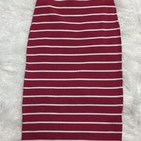 Striped Pencil Skirt: Berry
