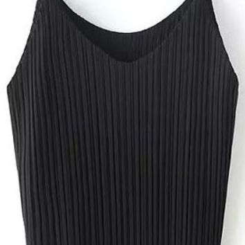 Black Pleated Strappy Top