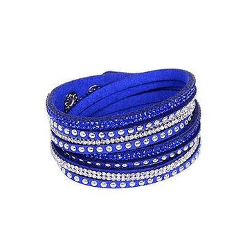 Rhinestone and Stud Wrap Bracelet Multilayer Look 9 Assorted Colors