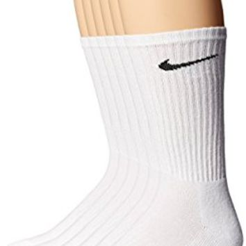 Nike Performance Cotton Cushioned White 6 Pack Crew Socks Large