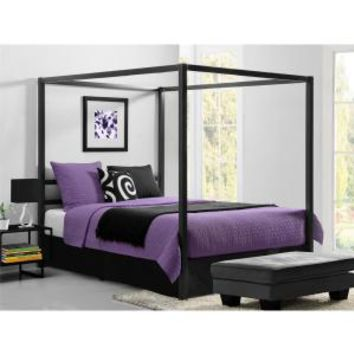 DHP Modern Canopy Metal Queen Size Bed Frame in Gunmetal Grey 5584296 at The Home Depot - Mobile