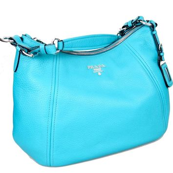 Prada Women's BR5096 Turquoise Leather Shoulder Bag