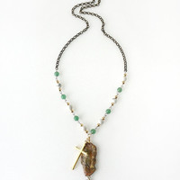 Holy Cross with Unakite Raw Stone Pendant Necklace, Beaded Howlite and Aventurine, Unisex Jewelry