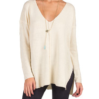 Side Slit V-Neck Knit Sweater - Medium/Large - Cream /