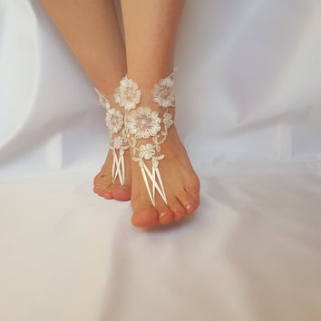 ivory silver frame barefoot beach wedding country wedding french lace sandals wedding shoe embroidered barefeet sandals Steampunk beach pool