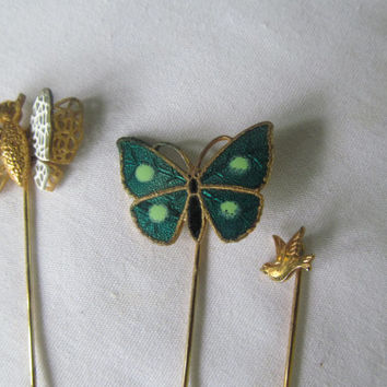 Birds and Butterflies 3 Stick Pins Instant Collection Hat Pins 70s Jewelry