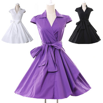 Solid Deep V-Neck Wrap Bow Knot A-Line Mini Dress