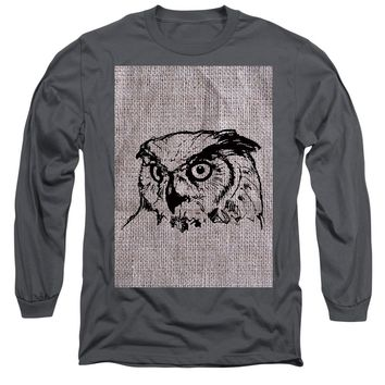 Owl On Burlap - Long Sleeve T-Shirt